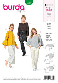 Top, Casual Fit, Sleeve Variations. Burda 6254.
