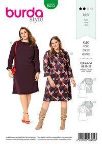 Dress with Flared Skirt, V-Neckline– Round Neckline. Burda 6255.