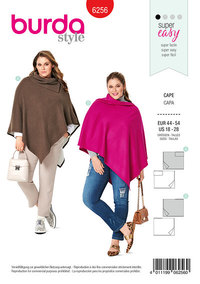 Rectangular Cape, with or without Collar. Burda 6256.