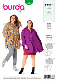 Blouse, Cape-like, Stand Collar, Shirt Blouse Collar. Burda 6257.