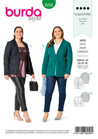 Jacket with V-Neckline , High Neckline . Burda 6258.