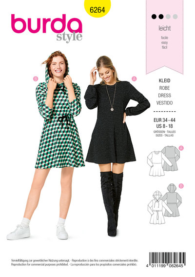 Shirt Dress with Flared Skirt, Hood