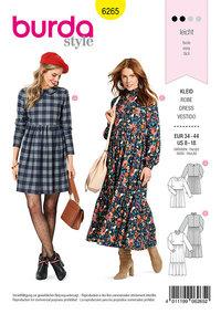 Dress with Peter Pan Collar, Midi Dress with Tiered Skirt. Burda 6265.