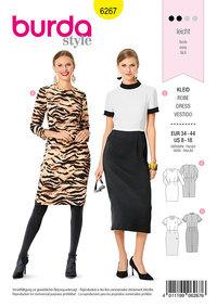 Sheath Dress, 3/4 Sleeves, Stand Collar. Burda 6267.