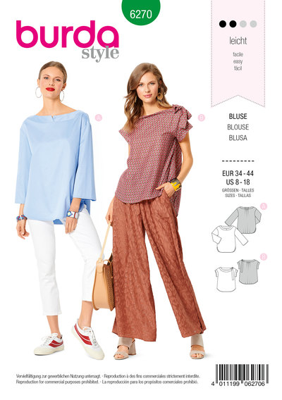 Blouse, Shallow Neckline with Neckline Band , Casual Loose Fit