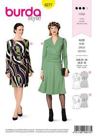 Jersey Dress, Bell-shaped Skirt, Draped at the Hip. Burda 6277.