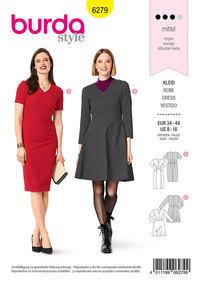 Dress, V-Neckline, Narrow Skirt with Panel Seams, Bell-shaped Skirt. Burda 6279.
