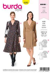 Wrap Dress, Flounce Neckline. Burda 6282.