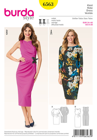 Asymmetrical dress with pleats