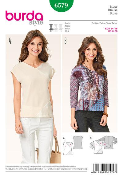 Blouse shirt, v-neck, patchwork