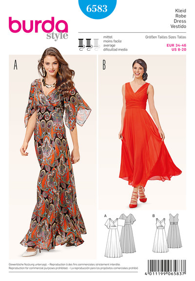 Evening dress, draped fronts and wide skirt