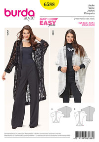 Jacket with kimono sleeves, egg shape. Burda 6588.