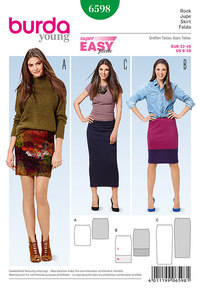Narrow Jersey Skirt, No Fastening. Burda 6598.