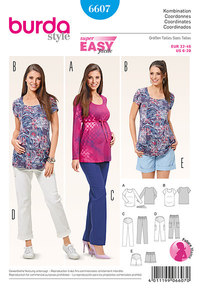 Maternity coordinates, pants, shorts, top. Burda 6607.
