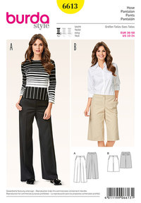 Pants/Trousers, Culottes, Flared Legs. Burda 6613.