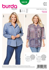Shirtblouse, slightly fitted. Burda 6614.