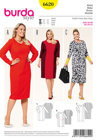 Dress with panel seams. Burda 6620.