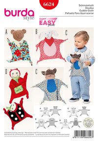 Cuddle Cloth, Bear, Lamb, Monkey, Lady Bug. Burda 6624.