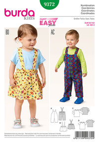 Bibbed pants, trousers, Pinafore skirt and top. Burda 9372.