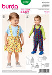 Burda 9372. Bibbed pants, trousers, Pinafore skirt and top.