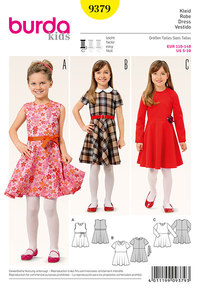 Bell shaped girls dress. Burda 9379.