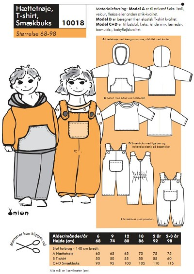 Hooded shirt, T-shirt, overalls