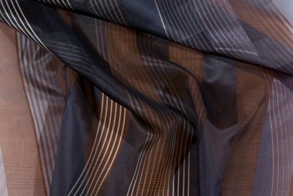 Black-grey, long-striped, transparent fashion fabric
