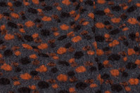 Charcoal felt wool with orange and brown elevated dots