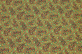 Christmas-cotton in green nuances with small leaves in red and gold .