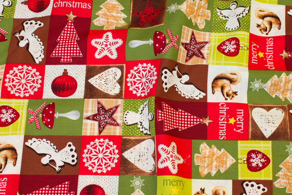Christmas-cotton in green and red nuances