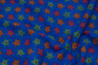 Cobolt-blue fleece with stars on ca. 3 cm