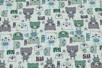 Delicate green cotton-jersey with 4 cm teddies