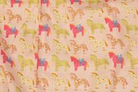 Delicate soft red cotton with horses in pink and green