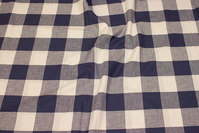 Large-checks cotton in white and navy