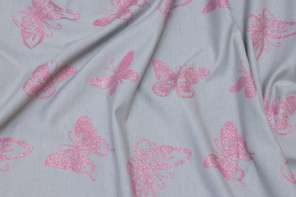 Light grey cotton-jersey with pink glitter-butterflies