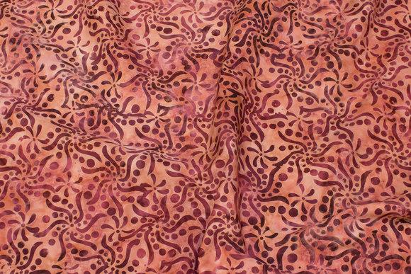 Old rose batique-cotton with bordeaux pattern