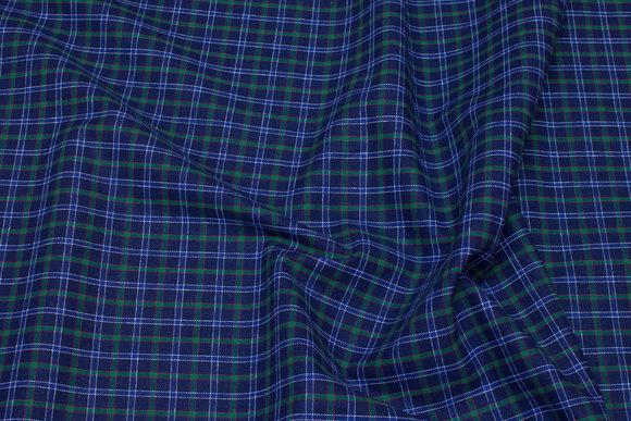 Pre-shunk blue-green-checks shirt-fabric