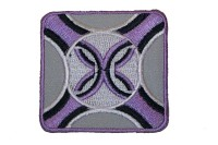 Purple and grey iron on patch 5.5 x 5.5 cm