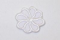 Tiny white flower iron on patch ø 2 cm