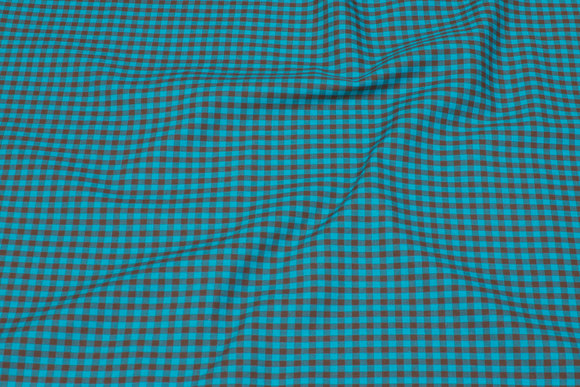Turqoise and brown checked cotton