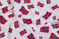 White cotton with norwegian flags