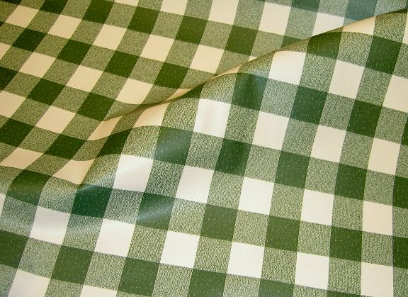 Waxed and coated fabric with checkers