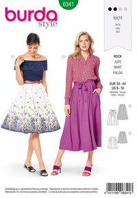 Burda 6341. Inverted pleat skirt.