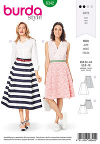 Burda 6342. Side pleat skirt.