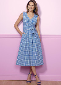 Butterick 6446. Pleated Wrap Dresses with Sash.