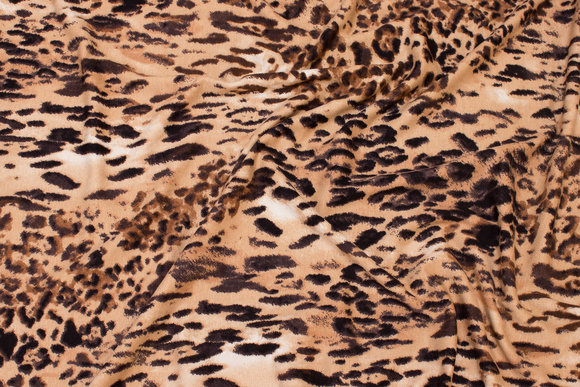 Viscosejersey with animal-print in golden colors