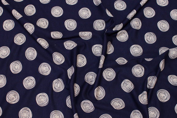 Navy viscosejersey with light grey circle-pattern