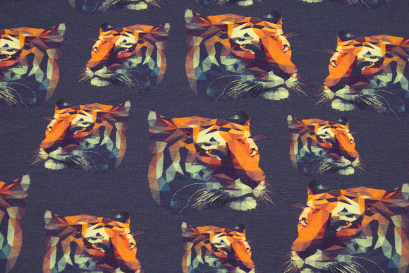 Dusty navy cotton-jersey with tiger heads