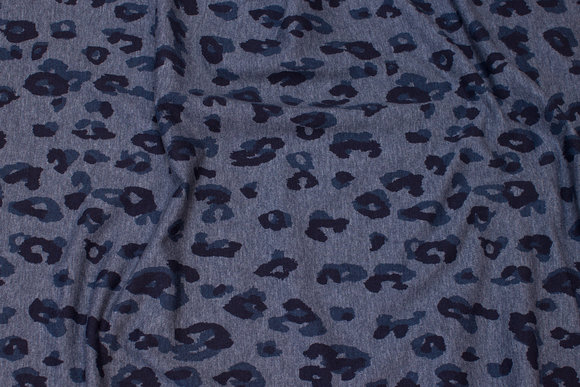 Stretch jersey in speckled navy with animal-print