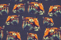Dusty navy cotton-jersey with tiger heads. 13,13